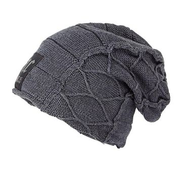 Winter Fleece Lined Knit Skull Cap Plaid Oversized Baggy Beanie Slouchy Hats for Men,Gray Dark Red Brown Black