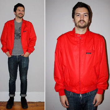 ON SALE Vintage 80s MEMBERS Only Jacket / Rare Tomato Red / Classic Style / Windbreaker / Bold, Bright / Lightweight Jacket / Large 44