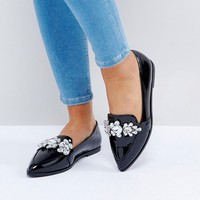 ASOS MANILLA Wide Fit Embellished Flat Shoes at asos.com