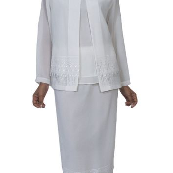 Hosanna 3982 White Tea Length 3 Piece Plus Size Dress Set Embroidery Detail