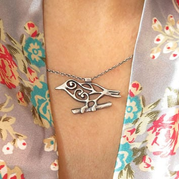 Bird Pendant,Sterling Silver 925, Handmade Jewelry, Pendant on Sterling Silver Chain, Beautiful Bird on Branch, Spring Necklace, 925