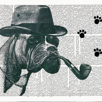 Book Print Detective Boxer Dog on Vintage Upcycle Page Art Print Dictionary Print Dictionary Art Print Boxer Dog Poster Boxer Dog Wall Art
