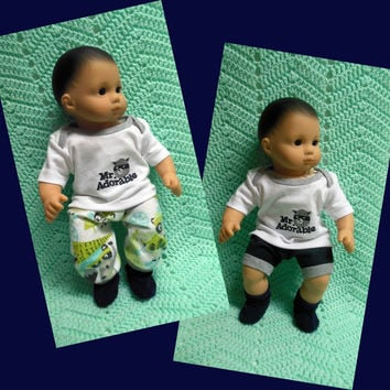 """American Girl Bitty Baby clothes Bitty Twins Boy """"Mr. Adorable"""" (15 inch)  playset top pants shorts socks raccoon winter summer"""