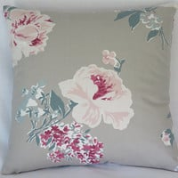 """Taupe Teal and Pink Floral Pillow Cover, 17"""" Square, Oyster, Raspberry, Green, Tan, Madcap Cottage Isleboro Eve, Cover Only"""