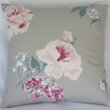 "Taupe Teal and Pink Floral Pillow Cover, 17"" Square, Oyster, Raspberry, Green, Tan, Madcap Cottage Isleboro Eve, Cover Only"