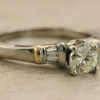 Vintage Engagement Ring Diamond Ring Platinum Ring Wedding Ring 18k Yellow Gold Ring Solitaire Engagement Ring Conflict Free Ring Size 5.5