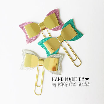 glitter & gold bow paper clips standard size : sparkles collection (3pcs/set)
