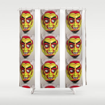 vintage Halloween Devil mask pattern Shower Curtain by Kathead Tarot/David Rivera