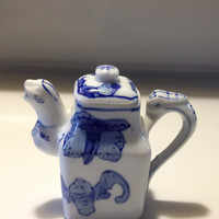 Tiny Teapot Foo Dog Dragon Made in China Blue and White Miniature Collectible Porcelain Vintage