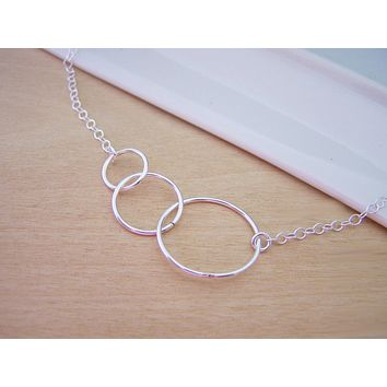Three Circle Link Sterling Silver Necklace