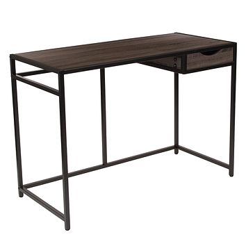 Homewood Collection Computer Desk with Pull-Out Drawer and Black Metal Frame