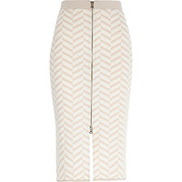 River Island Womens Beige chevron print zip front pencil skirt