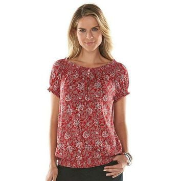 MDIGPL3 Chaps Print Peasant Top - Women's Size