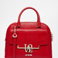 Love Moschino Leather Bowler Bag in Red