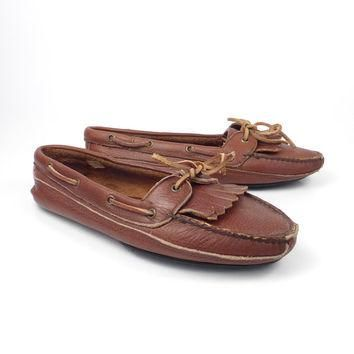 Brown Loafers Moccasins Vintage 1980s Leather Slip on Shoes Polo Ralph Lauren men's s
