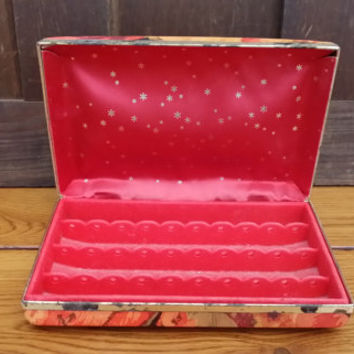 Vintage Orange Red Retro Pattern Jewelry Earring Travel Case Organization Storage Display