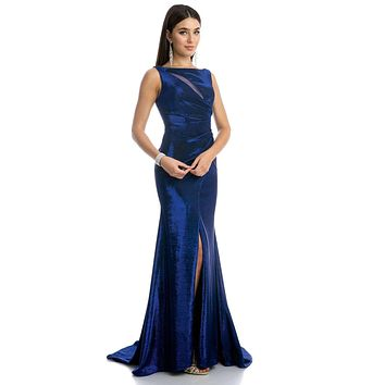 Royal Blue Faux-Wrap Mermaid Style Long Prom Dress with Slit