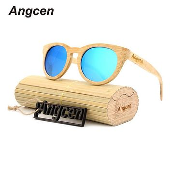 Angcen 2017 Bamboo Sunglasses Men Wood Sunglasses polarized Brand Designer Mirror Original Wood Sunglasses Oculos zonnebril ZA55