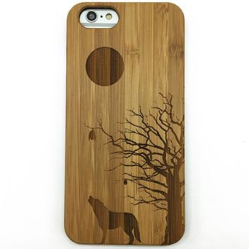 Howling Full Moon Wolves Wolf Bamboo Wooden Phone Case iPhone 8 X 7 7 Plus 5 5s 4 4s ,Samsung Galaxy S8 S8 Plus S7 S6 Edge S5