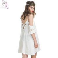 White Summer 2016 Cold Shoulder Lace Bell Sleeve Spaghetti Strap Cut out Cross Back Women Shift Mini Loose Beach Dress
