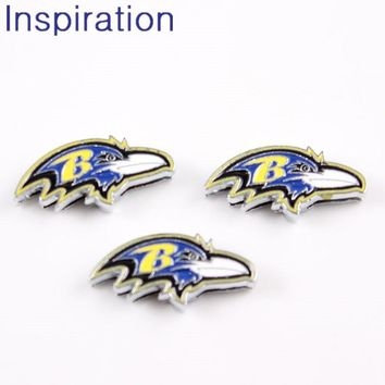 High Quality 8mm Baltimore Ravens Slide Charms Alloy Enamel Silder Charms DIY Jewelry Making for Necklace Bracelet 20pcs/lot