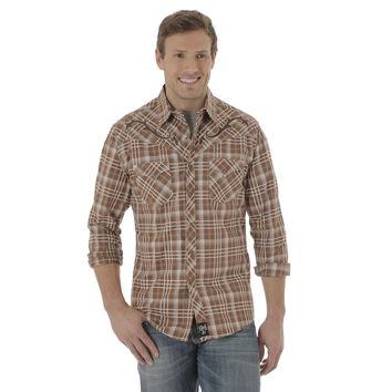 Wrangler Mens Rock 47 Long Sleeve Western Snap Brown Plaid Shirt