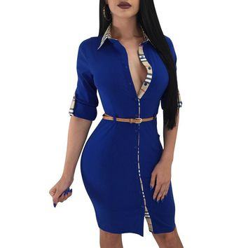 Elegant Casual Women Office Pencil Slim Dress With Belt Party Plaid Printing Turn-Down Collar Neck Buttons Dresses