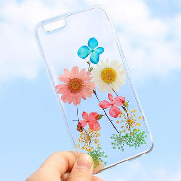 Summer Vibe Case 100% Handmade Dried Flowers Cover for iPhone 7 7Plus & iPhone 6 6s Plus + Gift Box B61