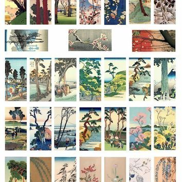 VINTAGE asian japanese tree trees flowers collage sheet 1 x 2 inch dominos size