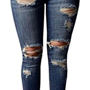 Chuanqi Women's High-waisted Ripped Holes Skinny Jeans Plus Size