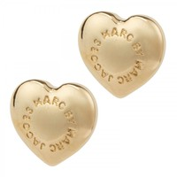 Dome heart stud earrings