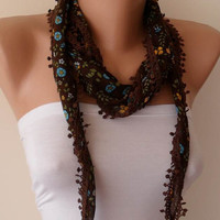 Brown Blue and Yellow Scarf - Headband - Summer Scarf  - Thin and Lightweight Scarf