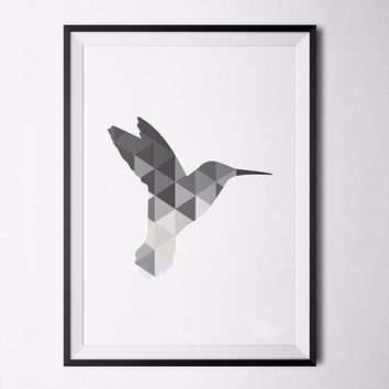 Nordic Hummingbird Grey Poster Print Art Canvas, Printable Wall Art, Geometric Animals Modern Home Decor, Frame Not included