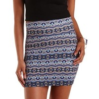 Blue Combo Boho Print Bodycon Mini Skirt by Charlotte Russe