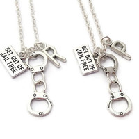 2 Partner in Crime Necklaces, Best Friends Friendship Set, Handcuff Jewelry, Get Out Of Jail Free Card, Personalized Gifts, BFF Pair