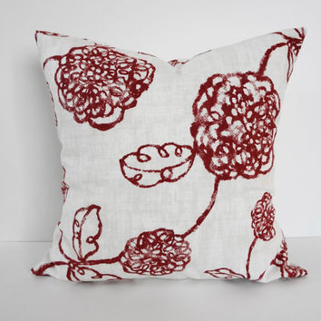 Designer Magnolia House Fashions Pillow Cover, Stan Cathell Design Cushion, Red, White