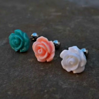 Rose Cartilage Helix Earring Upper Ear Jewelry Tragus 16ga Flower Body Jewelry 316L Surgical Stainless Steel