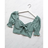 Distraction Bustier Cropped Blouse in Sage