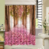Cute Fabric Bath Curtain Polyester Waterproof 3d Printing Tree Shower Curtain in the Bathroom