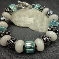 Aquamarine Crystal and White Jade European Style Charm Bracelet On Black Leather