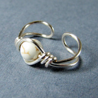 Ear Cuff Sterling Silver Natural White Howlite