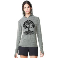 Yoga Clothing for You Womens Lightweight Hoody Tee - Celtic Tree of Life
