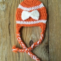 Crocheted Texas Longhorns Orange and White Baby Beanie, Longhorns Baby Beanie, 0-24 months, UT School Colors, Longhorns Unisex Baby Gear