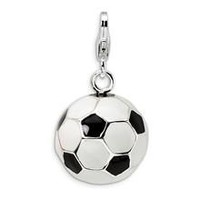 3-D Enamel Soccer Ball Charm in Sterling Silver