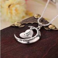 Hot Sale Polish Moon Heart With I love You Letter Pendant Necklace Women Chain Necklaces Jewelry Gifts Free Shipping