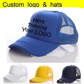 Trendy Winter Jacket Factory  Summer Trucker Hats Adult Custom Baseball Cap Printing Your LOGO Vinyl Heat Transfer Letter Men Snapback Caps AT_92_12