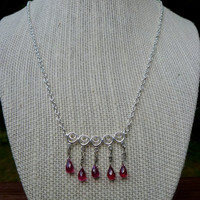 Pink Quartz and Sterling Silver Necklace