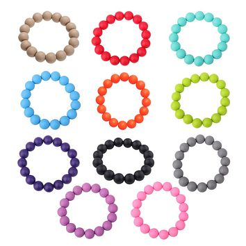 1 Pc Food Grade Silicone Gel Beads Bracelet Baby Teether Stretchable Bracelet Baby Kids Mom Jewelry Toy Gift Random Color!!!