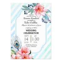 Boho Feathers Watercolor Stripe Floral Wedding Card