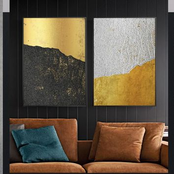 Abstract Gold  Mountain Black And White Canvas Painting Wall Art Picture For Living Room Bedroom Aisle Studio Modern Home Decor